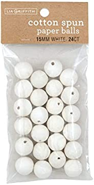 Lia Griffith 棉纺纸球,15 毫米,白色 24 个