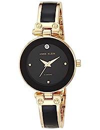 Anne Klein 女士镶钻手镯手表,黑色/金色,均码