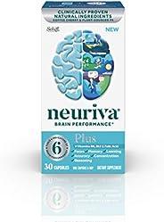NEURIVA Plus 大脑支持补充剂(一瓶30粒),Plus B6,B12和叶酸,支持6种大脑表现的指标:专注力,熟记能力,学习力,准确性和推理力