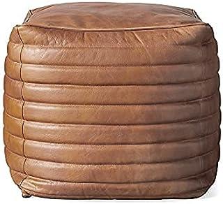 Orbit Art Gallery 方形通道袋盖 - 方形和大号Ottoman 皮革盖袋 - 波西米亚客厅装饰植物友好型小袋 - Hassock & Ottoman 脚凳 - 无填充物 - 17 英寸