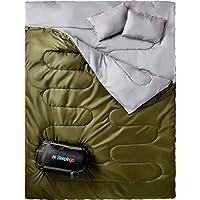 Sleepingo 雙睡袋,適合背包、露營或徒步旅行。 加大雙人床 XL 碼! Cold Weather 2 人防水睡袋適合成人或青少年。 輕型卡車、帳篷或睡墊。
