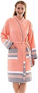 Bonamaison 带滚边浴袍,棉,橙色,S 码