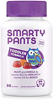 SmartyPants Complete幼儿每日维生素软糖: 多种维生素,不含麸质,Omega-3鱼油(EPA/DHA脂肪酸),维生素D3,维生素B12,碘,维生素E,90粒