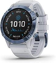 GARMIN 佳明 fenix 6 Pro Solar-Powered Multisport GPS 手表,先进的训练功能和数据,矿物蓝带白色表带