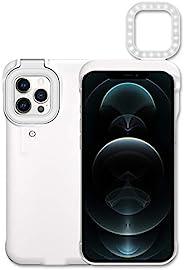 iPhone 12 Pro Max 自拍环灯手机壳,带 4 种照明型号 LED 照明手机壳,适用于化妆/博客/现场流内置电池(白色)