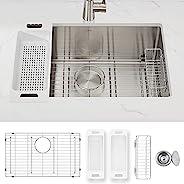 Zuhne Modena 台下式单碗16规格手工不锈钢厨房水槽 ,28英寸(约71.12厘米)