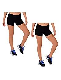 Stretch is Comfort 女式舞蹈拉力体操金属色热身短裤
