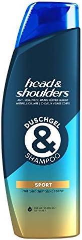 Head & Shoulders 去屑沐浴露和洗发水,适用于*、身体和面部,去头屑洗发水,运动,带檀木精华,2