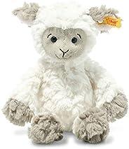 Steiff 073946 原装毛绒玩具 Lita Lamm,柔软可爱的朋友毛绒玩具 约 20 厘米,品牌毛绒带纽扣 适合宝宝出生的婴儿,白色-棕色灰色