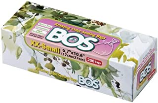 BOS 令人惊叹的气味密封一次性袋,适合狗狗粪便、宠物垃圾、尿布或任何卫生产品处理 - 耐用无香(200 袋)[尺码:XXS,颜色:白色]