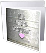 InspirationzStore Occasions - 10 周年结婚纪念礼物 - 锡庆祝 10 周年 - 10 周年纪念 - 贺卡 Individual Greeting Card