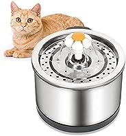 Cat Water Fountain 不锈钢 84 盎司/2.5 升宠物水喷泉,带 4 级循环过滤,超静音泵和 LED 灯,适合猫小型犬和其他宠物