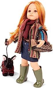 Gotz Hannah Walking her Dog - 19.5 英寸(约 49.5 厘米)全乙烯基可动娃娃,带长红色*,可清洗和造型