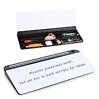 玻璃臺式電腦墊,18 英寸 × 6 英寸(約 45.7 厘米 × 15.2 厘米),干擦白板列表記事本,帶 ABS 存儲盒,適用于家庭或辦公室。
