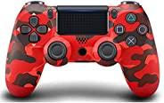 无线控制器兼容 PS4,Playstation 4 游戏控制器,内置扬声器六轴陀螺和双振动,遥控游戏手柄适用于 PS4/Slim/Pro 控制台(迷彩红色)