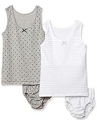 GALOE 2条装 上下套装成对内衣 胸部双重・背心/圆点・横条纹 女孩