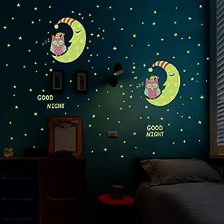夜光星星 - 夜光猫头鹰月亮之星 - 适用于儿童和婴儿房 - 在黑暗中发光 - 家居装饰好夜 - 荧光壁画海报