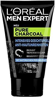 L'Oréal Paris 巴黎欧莱雅 男士专家 纯木炭磨砂洗面奶,针对油污型男士肤质 清洁黑头毛孔 带给您明亮肌肤(1 x 10