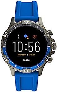 Fossil 男士 Gen 5 Garrett 不锈钢触摸屏智能手表,带扬声器、心率、GPS、非接触式支付和智能手机通知