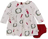 Burt's Bees 小蜜蜂婴儿女童连衣裙, 婴幼儿, 短袖和长袖, * *棉,复古假日,1