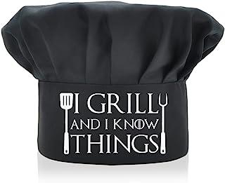 AGMdesign 趣味厨师帽 I Grill and I Know Things 可调节厨房烹饪帽 男女皆宜 黑色 母亲节/父亲节/生日礼物 送给他、她、妈妈、爸爸、朋友的生日礼物