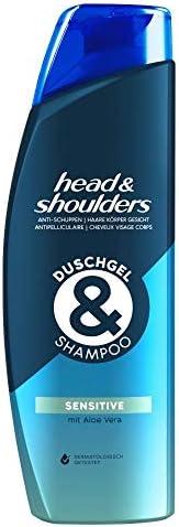 Head & Shoulders 去屑沐浴露和洗发水,适用于*、身体和面部,去头屑洗发水,敏感,含芦荟,2
