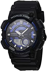 Casio 卡西欧 男式 10 年电池石英树脂表带,黑色,29.4 休闲手表(型号:AEQ-110W-2A2VCF)