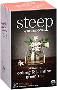Steep by Bigelow Organic Oolong and Jasmine Green Tea 20 Count (Pack of 6) Caffeinated Individual Green and Bl