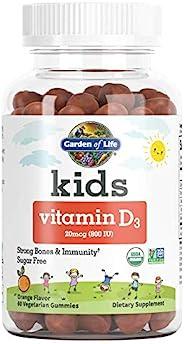 Garden of Life 儿童维生素 D3 软糖,每日一次强 壮身体 ·不含糖 素食,橙子味,800 IU(DV),60 粒(60 天用量)