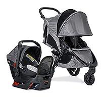 Britax B-Free 運動旅行系統,帶 B-Safe Endeavors 嬰兒汽車*座椅 | 全地形輪胎 + 可調節車把 + 帶前置接口的額外儲物空間 + 單手方便折疊,淺灰色