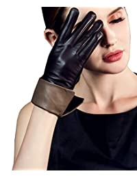 YISEVEN 女式触摸屏羊皮翻边皮革手套 Diva 时尚