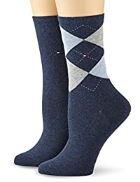 TOMMY HILFIGER 女式格子2P 休闲短袜