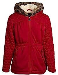 Limited Too 女童冬季外套 - 羊羔绒衬里夹棉夹克,带人造皮豹纹印花饰边帽子