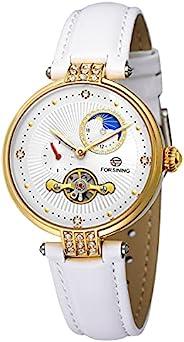 女式机械自动上链手表真皮表带月相夜光手表