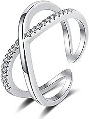 penobon 可调节纯银戒指 14K 镀金方晶锆石 CZ 订婚戒指 女式