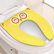 Gimars *折叠大号防滑硅胶垫旅行便携式可重复使用马桶训练座套衬垫带便携袋适用于婴儿、幼儿和儿童,黄色