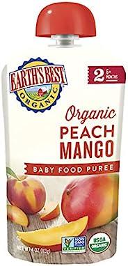 Earth's Best 2段 婴孩食品,桃和芒果泥,4盎司(113克)(12包)(包装可能会有