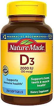 Nature Made 維生素D3 2000 IU(50 mcg)軟膠囊,250粒含每日所需價值(包裝可能會有所不同)