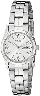 Citizen 西铁城 EQ0540-57A 女士手表 石英银 带有日期/星期显示,Silver