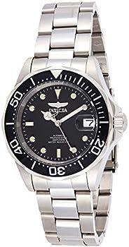 INVICTA 男式 Pro Diver 8926 不锈钢表链手表,银色/黑色表盘/半开背