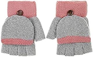 女式翻盖针织保暖手套女孩半指手套冬季保暖无指手套运动户外手套