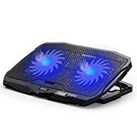 笔记本电脑冷却垫,INPHIC 超静音四风扇笔记本电脑冷却器配件尺寸从 14 至 17 英寸,4 级可调节水平笔记本电脑冷却支架,金属网面