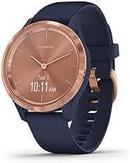 GARMIN 佳明 vívomove 時尚混合智能手表 指針式 & OLED顯示屏適用于窄手腕,運動應用程序和健身/*數據,防水,5天電池續航時間 Dunkelblau/Rosego