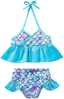 幼儿女孩泳衣分体泳衣可爱美人鱼上衣 + 下装 + 头带泳衣 3 件女婴泳装套装