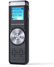 32GB 数字录音机,TENSAFEE 录音机声音激活录音机,便携式可充电高清录音机,MP3 播放器/A-B 重复播放,讲座/会议/面试/课堂录音机