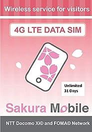 SakuraMobile 日本预付 SIM 卡(无限数据 / 31 天)