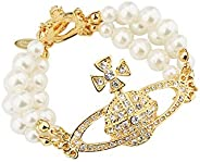 Vivienne Westwood 金色土星三层珍珠手链,带特殊包装盒和纸袋