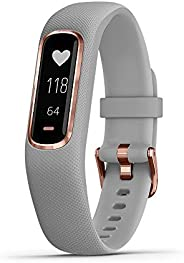 GARMIN 佳明 vivosmart 4 运动和健身追踪器,带/脉搏氧和心率监测器,玫瑰金和灰色表带