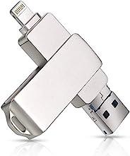 3 合 1 闪存盘,iPhone 照片棒,闪存盘,适用于 iPhone 、USB 3.0 拇指驱动 iOS *棒,带 360° 旋转跳转驱动器备份,适用于 iPhone / iPad / 安卓 / PC(1TB,银色)