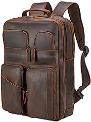 Polare 17.3 英寸(约 45.9 厘米)全粒面皮革背包男式多口袋商务旅行日背包书包